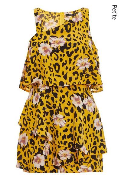 Petite Yellow Leopard Print Playsuit